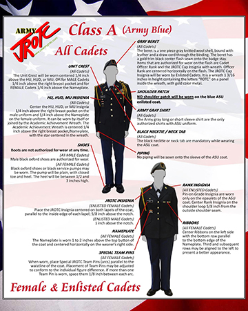 Cadet Class A Uniform Female and Enlisted Poster