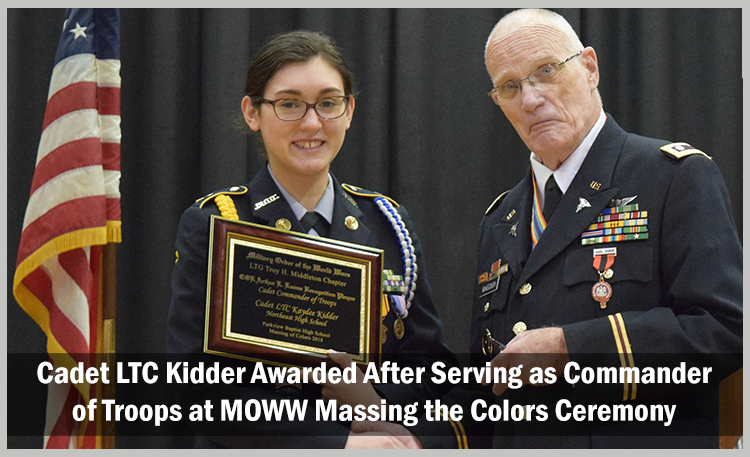 Cadet LTC Kidder Awarded AFter Serving as Commander of Troops at MOWW Massing the Colors Ceremony