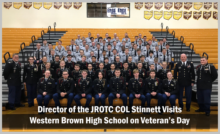 Director of JROTC COL Stinnett visits Western Brown High School on Veterans Day