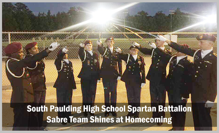 South Paulding High School Spartan Battalion Saber Team Shines at Homecoming