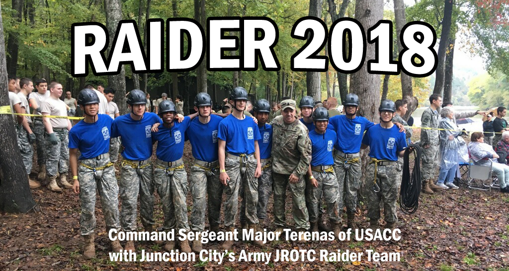 USACC CSM Terenas with the Rapid City Raider Team.